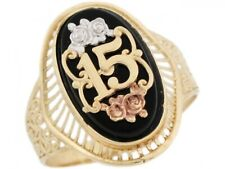 10k or 14k Tri Color Real Gold Rose Flower Oval Onyx 15 Anos Birthday Ring