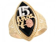 10k or 14k Two Tone Gold Quinceanera 15 Anos Rose Gold Flower Filigree Onyx Ring