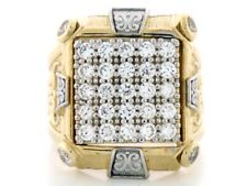 10k / 14k Solid Two-Tone Gold CZ Stone Mens Cluster Ring