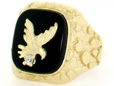 10k / 14k Solid Yellow Gold Nugget Onyx Eagle Mens Ring