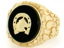 10k / 14k Solid Gold Nugget Oval Onyx Horseshoe Mens Ring