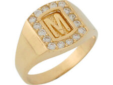 10k or 14k Yellow Gold White CZ Block Letter M Initial Mens Brilliant Ring