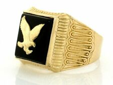 10k / 14k Solid Yellow Gold Onyx Eagle Mens Ring