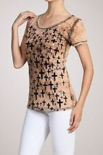 Sexy & Sinful Scoop Neck Short Sleeve Vintage Black Foil Cross Religion S L XL