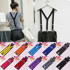 Fashion Women's Unisex Elastic Y-Shape Braces Clip-on Suspenders Mens Adjustable