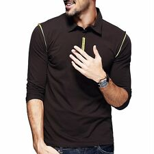 Handsome Mens Polo Shirt Long Sleeve Lapel Sports Casual T-shirt Coffee M to 2XL