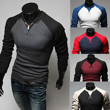 Men's Fashion Slim Fit T-shirt Crew-neck Long Sleeve Patchwork Tee Tops Glitzy