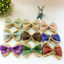 Beauty Colorful Linen Lace Cute Bow DIY Appliques/Craft/Wedding Decoration Craft