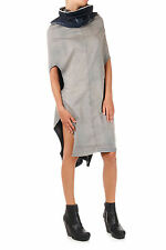 RICK OWENS DRKSHDW New Women Blue Denim SHROUD Cotton Dress Made Italy