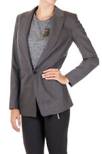 MICHAEL KORS New Women Grey Single Breasted Wool Blend Long sleeve Blazer