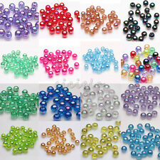 Wholesale 50/100x Acrylic Round Plated AB Loose Spacer Beads Jewelry Making 8mm
