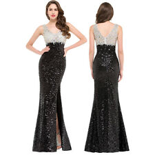GK Beaded Elegant Sexy V-Neck Sequined Long Dress Evening Party  Ball Gown PLUS