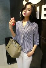 Women Blouse Shirt Spring Autumn Slim Casual Long Sleeve Striped Chiffon !!!