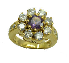 Amethyst CZ Gold Plated Ring well-favored Purple handmade AU K,M,O,Q