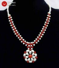 SALE White Pearl & Red Coral with 35-40mm Pendant handwork Weaving Necklace-6217
