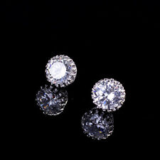 Princes Ear Stud Earring Crystal Crown 18K White Gold Plated