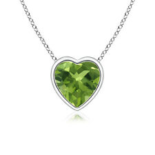 """Solitaire Heart Shaped Green Peridot Pendant Necklace with 18"""" Chain 14k Gold"""