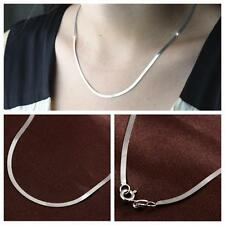 Unisex 4MM Chain Pendant Snake Necklace Silver Plated