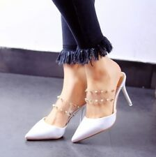 Women Pointed Toe Transparent Clear Rivet Strap Sandals Patent Leather