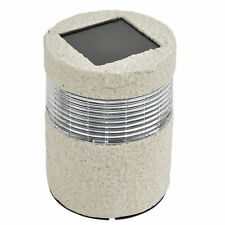 Solar Stone Post LED Light Rechargeable Outdoor Garden Lawn Patio Path SILVER