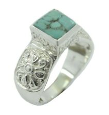 Turquoise 925 Sterling Silver Ring handmade Multi well-favored AU K,M,O,Q