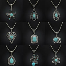 Fashion Women Vintage Tibetan Silver Turquoise Bib Crystal Pendant Long Necklace
