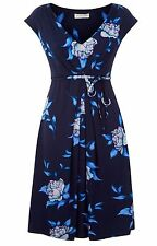 New Ex Monsoon Ladies Blue Floral Jersey Casual Summer Dress Size 10 - 18 V Neck