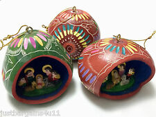 Nativity Scene and Owl Hand-Carved and Hand-Painted Gourd Ornament from Peru