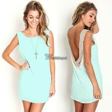 Sexy Women Sleeveless Backless Lace Cocktail Party Mini Dress Vogue WT88