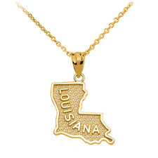 10k Yellow Gold Louisiana State Map United States Pendant Necklace