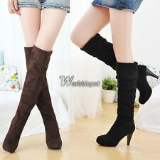 Women Over Knee Faux Suede Stretch Thigh High Slouchy high Heel Boots Shoes WT88