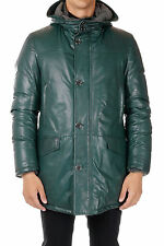 CORNELIANI New Men Green Down Jacket Coat Leather with Hooded Made Italy NWT