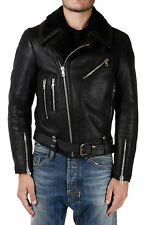DIESEL BLACK GOLD New Men Black Leather Biker Jacket Made in Italy NWT