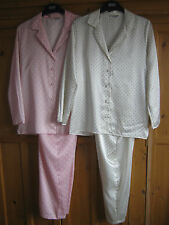 BNWOT LADIES EX MARKS AND SPENCER SATIN FEEL SPOTTED PYJAMAS SIZES 10-18