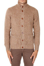 HERITAGE New Men beige Virgin Wool Blend Pockets Turtleneck Sweater Cardigan