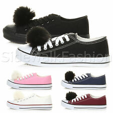 WOMENS LADIES FLAT POM POM LACE UP CANVAS TRAINERS SNEAKERS PUMPS SHOES SIZE