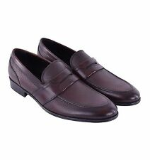DOLCE & GABBANA Formal Leather Business Slippers Shoes Brown Loafer 05182