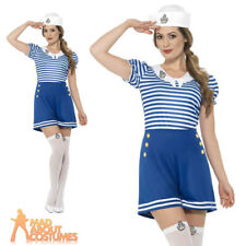 Sexy Sailor Girl Costume Sassy Navy Fancy Dress Womens Uniform Outfit