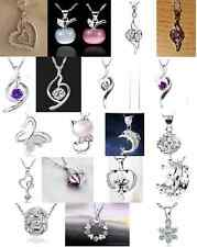 Crystal Heart Love Angel Crown Apple Cat Pendant Necklace with Optional Gift Bag