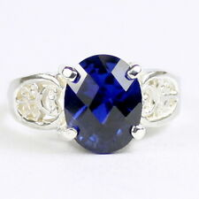 Created Blue Sapphire, 925 Sterling Silver Ring, SR369-Handmade