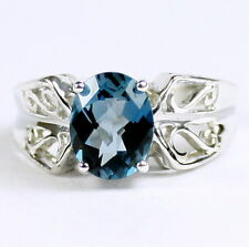 London Blue Topaz, 925 Sterling Silver  Ring-Handmade. SR281