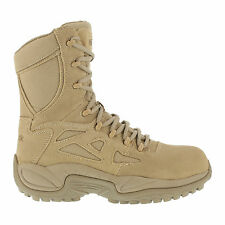Reebok Mens Desert Tan Suede Tactical Boots Rapid Response RB Side Zip