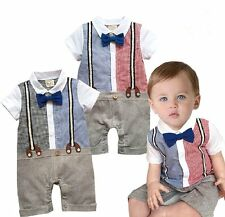 Baby Boy Wedding Christening Tuxedo Suit One Piece Outfit Clothes NEWBORN 0-18M