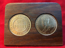 90th wedding anniversary Jarrah Plaque w/ 1927 penny. Other years available
