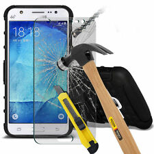 HEAVY DUTY TOUGH SHOCKPROOF HARD CASE COVER & TEMPERED GLASS FOR VARIOUS MOBILES