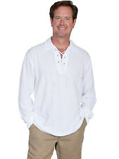 Scully Cantina Mens White 100% Cotton Laceup Pullover Shirt