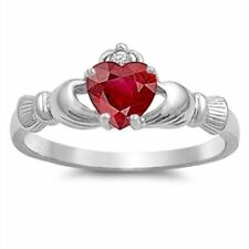 STERLING SILVER Red Ruby CZ Irish Claddagh Ring Plus Size 9 10 11 12 / R T V X