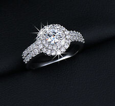 0.5ct Clear Cubic Zircon Cluster Setting Halo Engagement Ring White Gold Plated