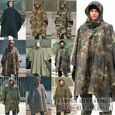 Waterproof Hooded Ripstop Poncho US Army Military Rain Camping Festivals Fishing