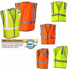 SAFETY ORANGE/LIME MESH VEST, CLASS 2, POCKET, HI VIS TAPE, S/M L/XL 2X/3X 4X/5X
